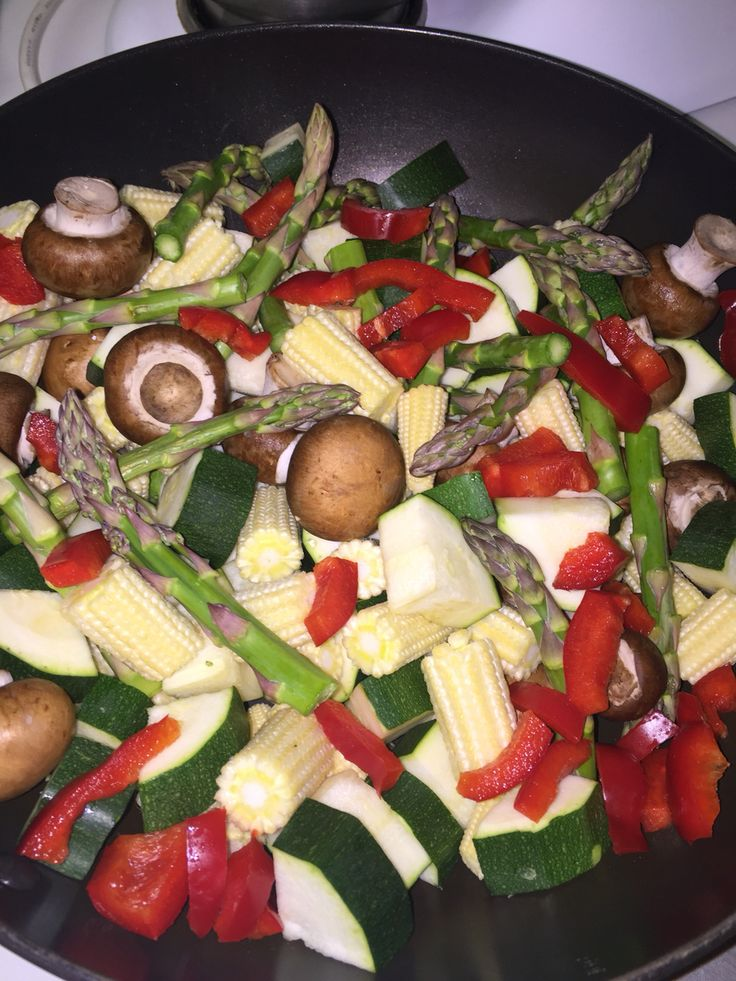 ❤️ versatile veggie stir fry ❤️ When making any meal, I like to stir fry a variety of vegetables (rather than just sticking to one or two types which can be quite bland). Stir-frying can be kept healthy by using good quality non-stick pans (which require only a fine spray of olive oil) or using coconut oil which only contains good fats! Mushrooms can be added to a stir fry, which I LOVE to use as they are really good for you and really delicious!
