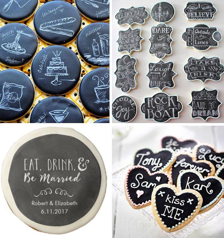 Ciasteczka i pierniczki inspirowane czarną tablicą kredową