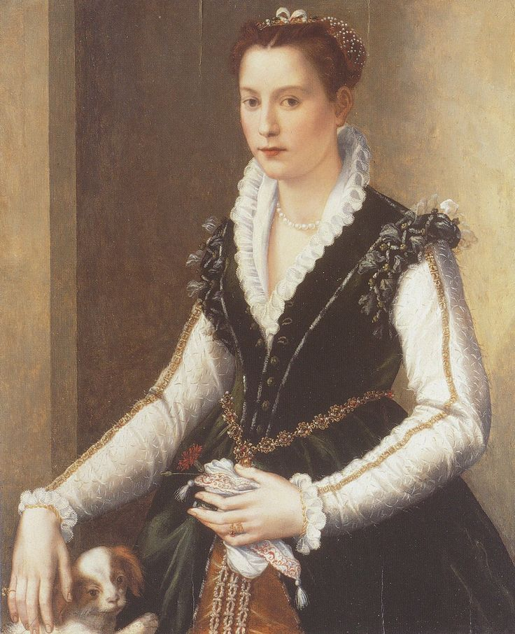 """1560s early Isabella de' Medici Orsini with a dog by Alessandro Allori             She is Eleonora de Toledo's daughter who was strangled in 1576 on order of her jealous husband, Paolo Orsini.      While Spanish influence is evident, her neckline is an open vee, instead of a high enclosing collar, and false sleeves are missing. The white of her chemise (""""camica"""") sleeves show. This is a picture of casual elegance."""