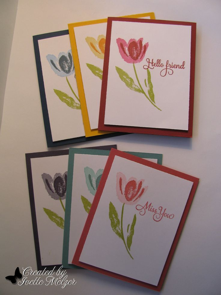 Assorted hand-stamped cards - stampin' up Terrific Tulips