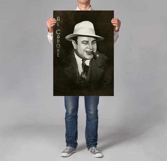 Al Capone Print Man Cave Decor Mobster Print Of Painting Etsy Cigar Art Al Capone Man Cave Decor