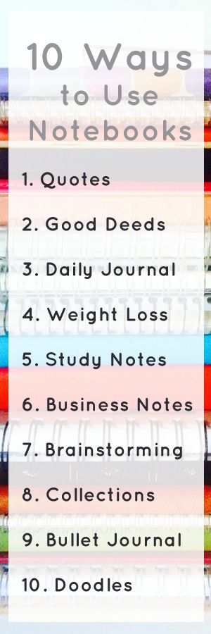If you're a stationery addict or notebook addict, you may have a large notebook collection!  If you need some ideas on how to use up all those notebooks, here's this handy list. 10 ways to use all those notebooks - a quotes notebook, a bullet journal, a daily journal, a notebook to store your business notes and a few other ideas!