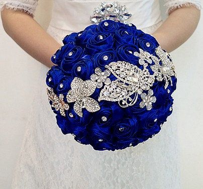Blue bridal bouquet Blue rose wedding bouquet by ANGELBLINGBOX