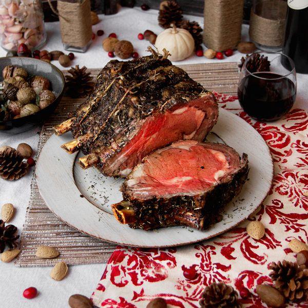 Dry-Aged & Herb encrusted Bone-in rib roast of beef