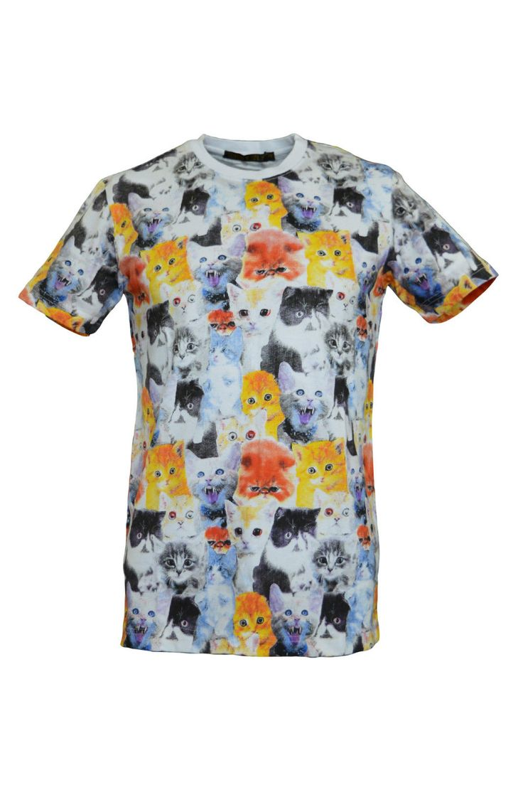 Mens Kitsch Demon Cats Kitten All Over Printed T shirt | eBay