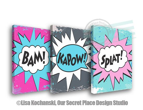 Superhero Canvas Superhero Room Decor Girls Superhero Decor Comic Book Bedroom Decor Comic Book Decor Superhero Nursery Decor For Girls Room