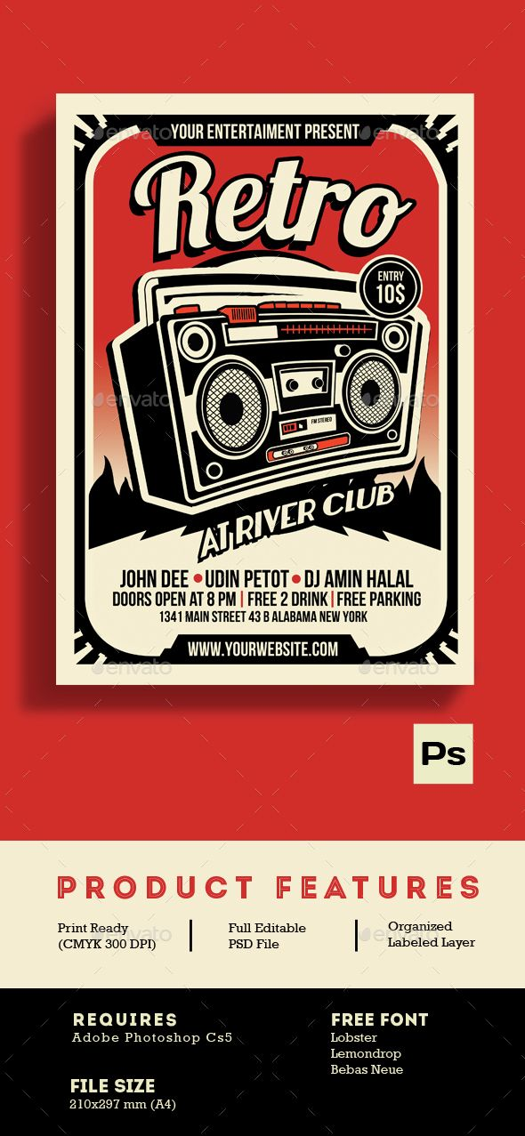 Retro Music Radio Flyer Poster Template PSD. Download here: http://graphicriver.net/item/retro-music-radio-flyer-poster/14992815?ref=ksioks