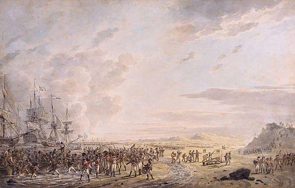 British and Russian amphibious force landing in Holland during the Helder campaign, August 1799. John, Earl of Chatham commanded one of the brigades during this expedition.