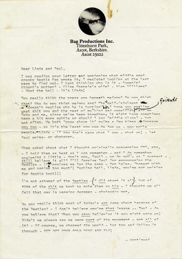 Private letter from John Lennon to Linda & Paul McCartney 1971