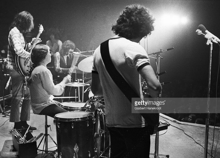 Drummer Maureen Tucker (Moe Tucker) ex Velvet Underground, performs live on stage (2nd from left) in Hilversum, Netherlands   PHOTO  BILLY  NAME   1974