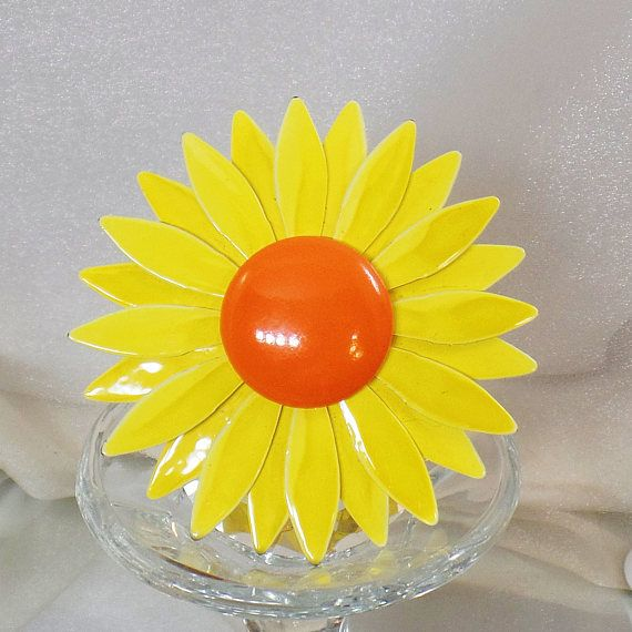 This #vintage large flower brooch is so bright and fun!  This brooch consists of a large bright yellow enamel petals and a bright orange center!  Rolling C-clasp closure.  A... #ecochic #etsy #jewelry #jewellery