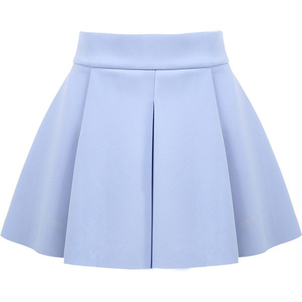 SheIn(sheinside) Blue High Waist Ruffle Flare Skirt (£12) ❤ liked on Polyvore featuring skirts, bottoms, blue, knee length pleated skirt, blue high waisted skirt, blue pleated skirt, flared skirt and short flared skirts