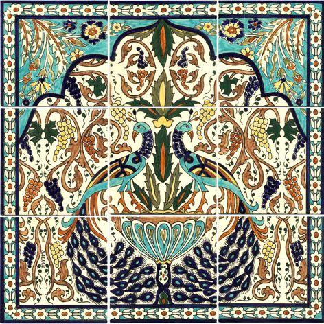 Armenian Peacock tile mural