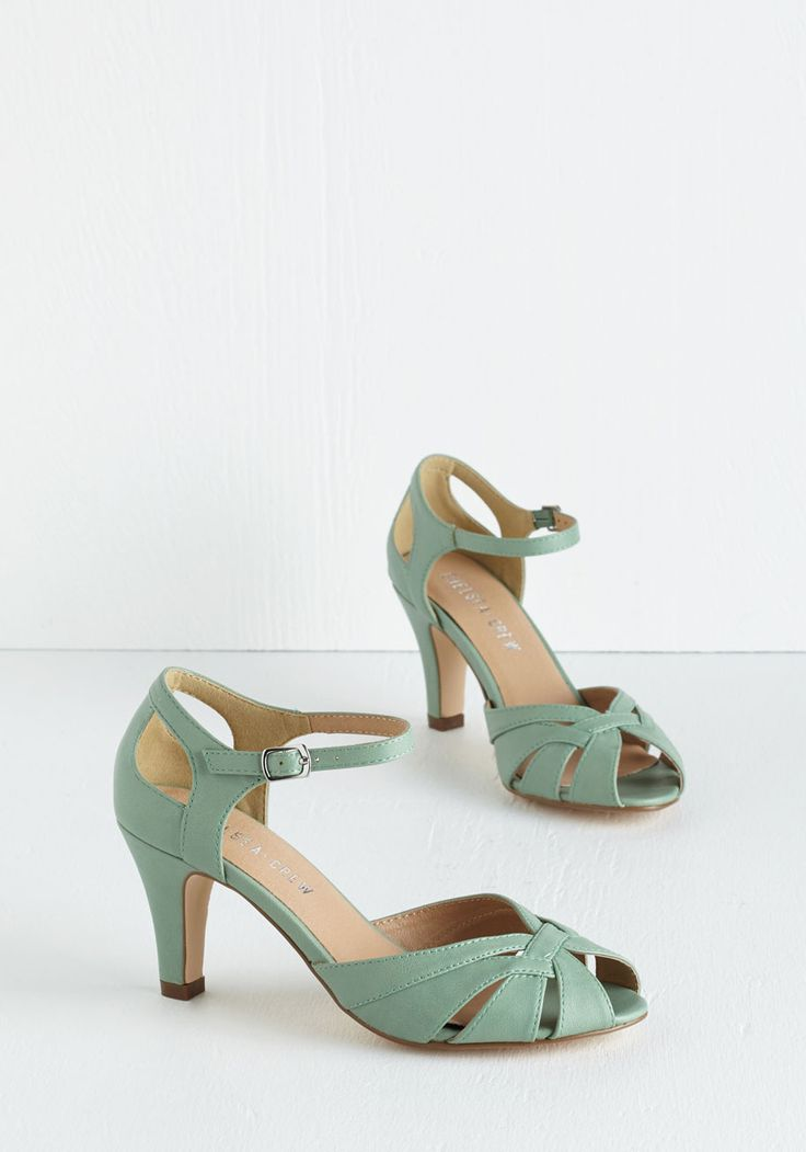 Tout de Sweet Heel in Mint by Chelsea Crew - Mid, Mint, Solid, Buckles, Work, Daytime Party, Vintage Inspired, 20s