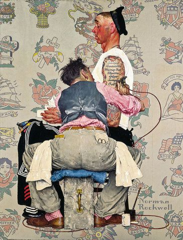 1944 - the tattoo artist - Norman RockwellThe Saturday, Norman Rockwell, Tattoo Artists, Illustration, A Tattoo, Sailors, Painting, Normanrockwel, Ink