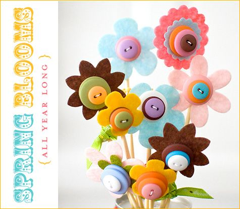 DIY Flower DecorButton Flowers, Crafts Ideas, Mothers Day, Buttons Crafts, Flower Bouquets, Buttons Bouquets, Buttons Flower, Felt Flower, American Crafts