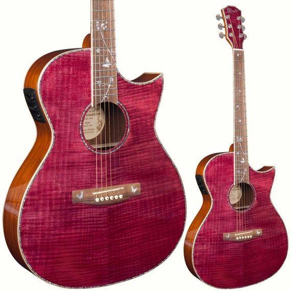 Lindo Dandelion Pink Slim Body Electro Acoustic Guitar With Etsy Electro Acoustic Guitar Guitar Slim Body