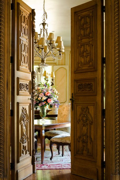 French doors! French Country home by Cabell Design Studio - Dining Room