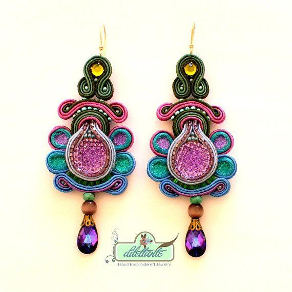 Soutache Earrings Swarovski Crystal by DILETTANTEsoutache on Etsy