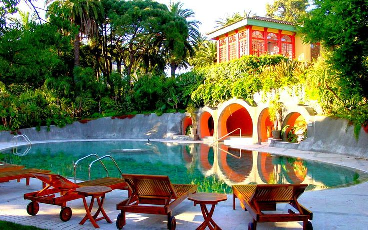 Pool in the garden of the restored 19th C. grand house, now turned hotel - Pestana Hotel Lisbon.