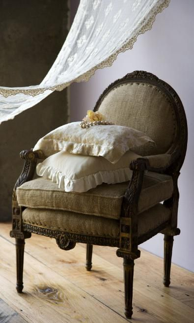 jute covered antique chair with 'velvet and colette' throw pillows…  bella notte linens ❀ ~ ◊ photo via 'trouvais':