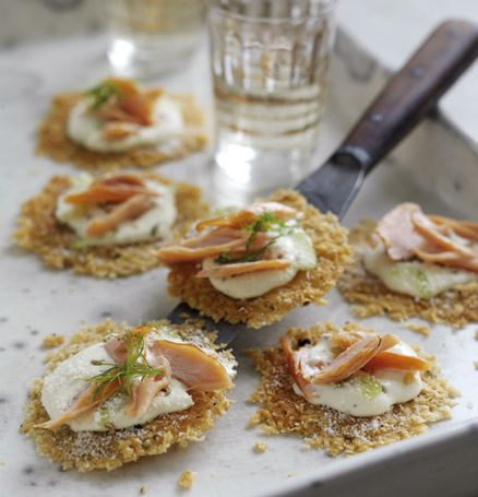 Canape recipes: Recipe of the day is Parmigiano-Reggiano crisp canapes topped with lemon pepper cream and hot smoked salmon. This canape recipe serves makes 10 canapes. Canape Ingredients: 15ml Crème fraiche Finely grated zest of one lemo