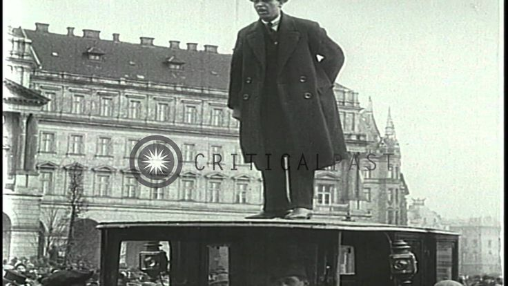 Communist Bela Kun and Socialist Sandor Garbai outside the Hungarian Parliament Building during an alliance in Budapest.