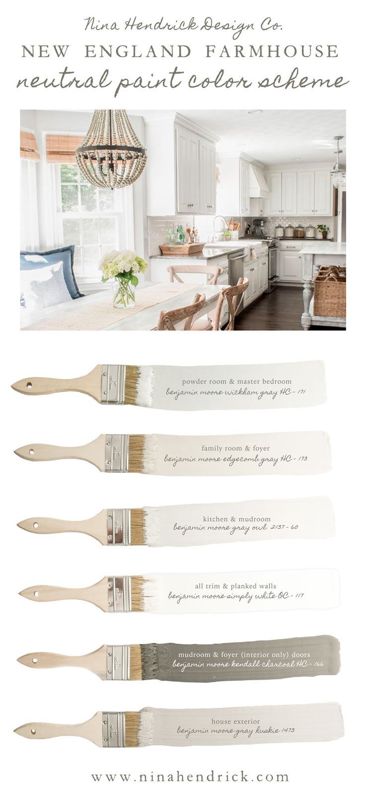 Nina Hendrick Design Co's New England Farmhouse Neutral Paint Color Scheme | A neutral and soothing color scheme for your entire home using a combination of natural colors.