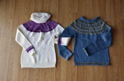 Free Universal Yarn Pattern : Hers and His Yoke Sweaters