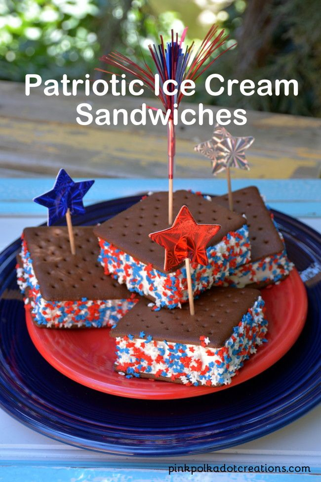 Patriotic Ice Cream Sandwiches-Pink Polka Dot Creations