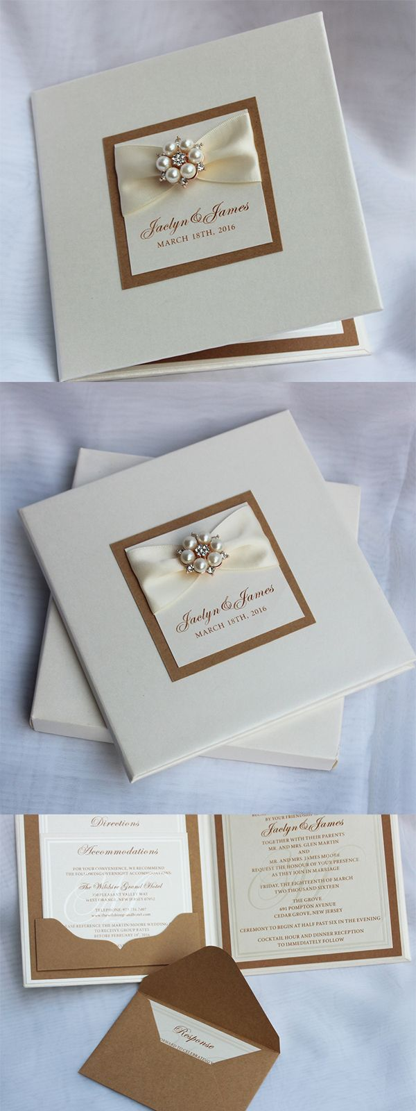 Verona wedding invitation boxed white lace amp pearl brooch w - Luxury Hardcover Invitations With Brooch