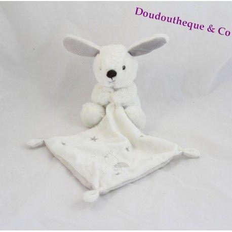 Doudou mouchoir lapin SIMBA TOYS BENELUX blanc gris Nicotoy 35 cm