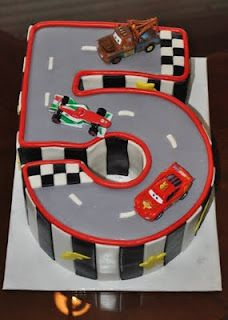 Luke would die! Lightning McQueen Cake--maybe we could do this as a cupcake cake.