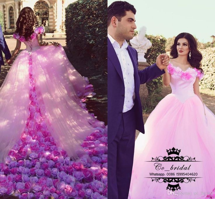 Amazing Fluffy Ball Gown Pink Wedding Dress With Flowers Boat Neck Long Chapel Train Tulle Middle East Bridal Gowns For Women 2017 Sale Wedding Dresses 2016 Bridal Gowns Custom Made 2017 Vestidos De Novia Online with 379.9/Piece on Cc_bridal's Store   DHgate.com