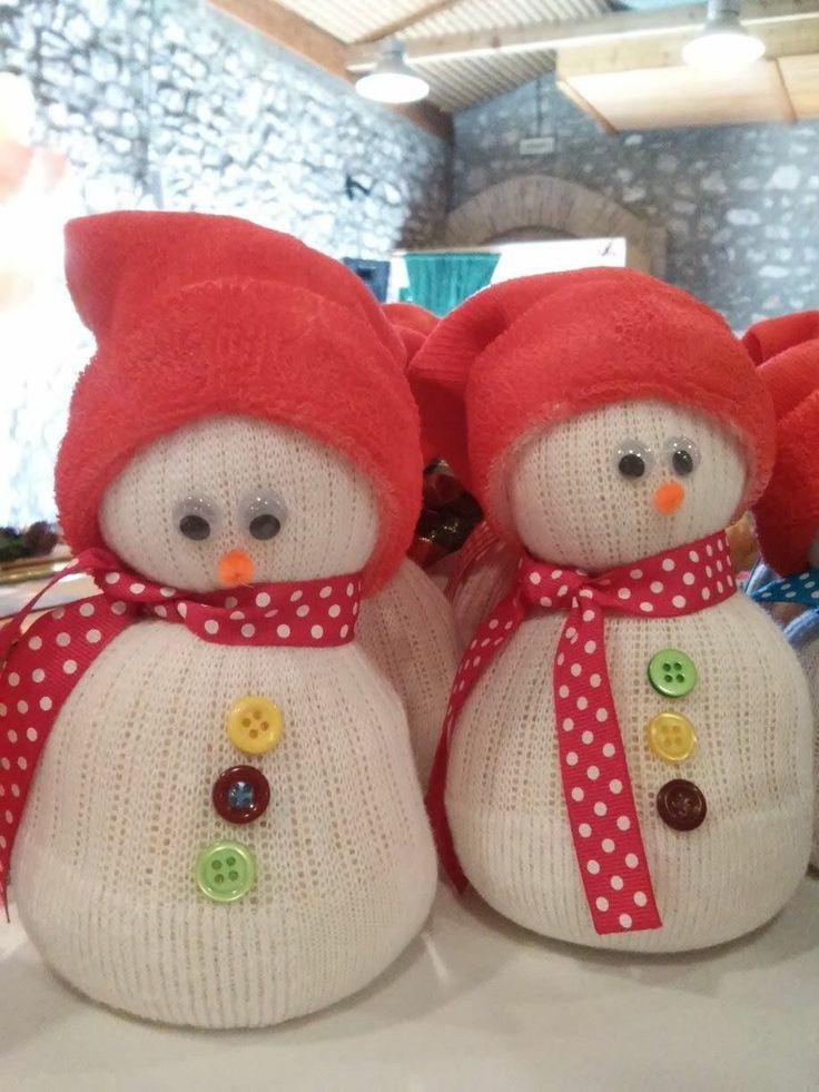 Handmade Socks Snowman - Χιονάνθρωπος από Κάλτσες