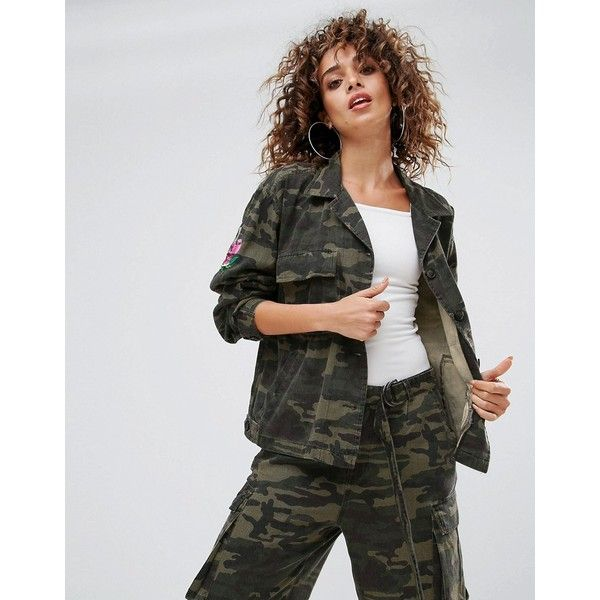 Gestuz Milla Camo Utility Jacket (£85) ❤ liked on Polyvore featuring outerwear, jackets, green, green utility jacket, leather jackets, camoflauge jacket, tall jackets and embroidered jacket