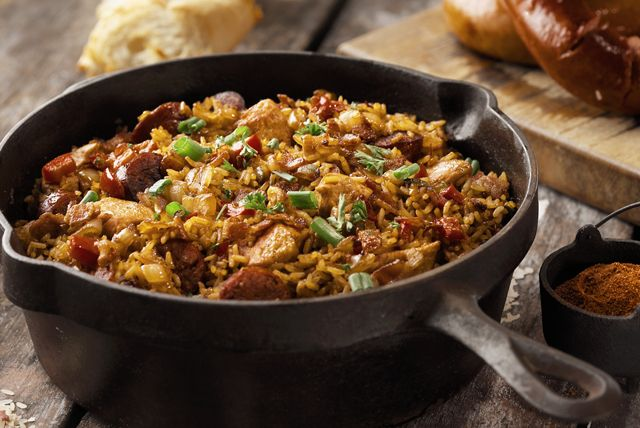 This jambalaya recipe is the perfect dish for a cool evening. Warm and savoury, the delicious combination of smoky sausage and tender chicken thighs will have you coming back for more. This jambalaya recipe is truly a one-pot wonder!