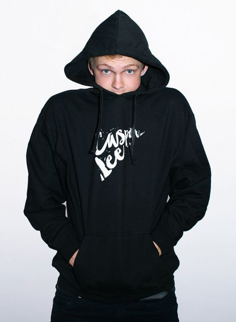 We used a double hit of plastisol to get the white so bright on this hoodie for Caspar Lee.