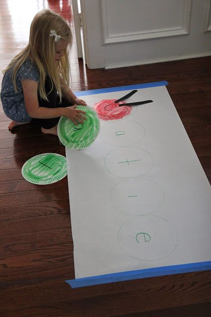 Giant Very Hungry Caterpillar Paper Plate Name Game. Such a fun way to practice spelling names.