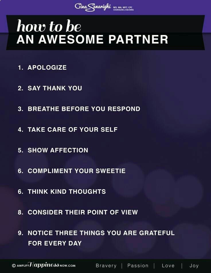 How to be an awesome partner...