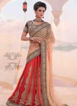Red & Beige half half lengha saree with blouse