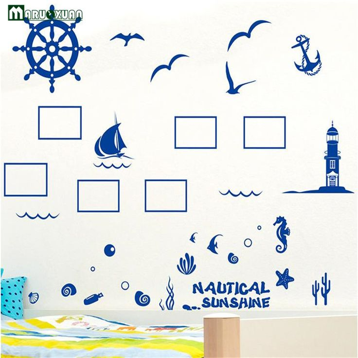 Blue Mediterranean Photo Frame Affixed To The Living Room Sofa Background Wall Stickers Bedroom Romantic Decorative Stickers