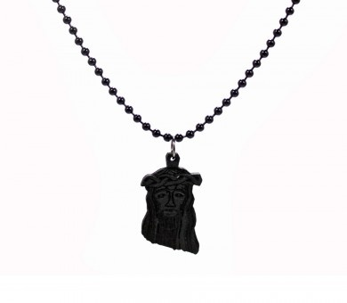 The Micro Jesus Necklace Black - $15.00 #GoodWoodNYC #woodenchain #woodennecklace #woodenjewelry  #goodwoodny