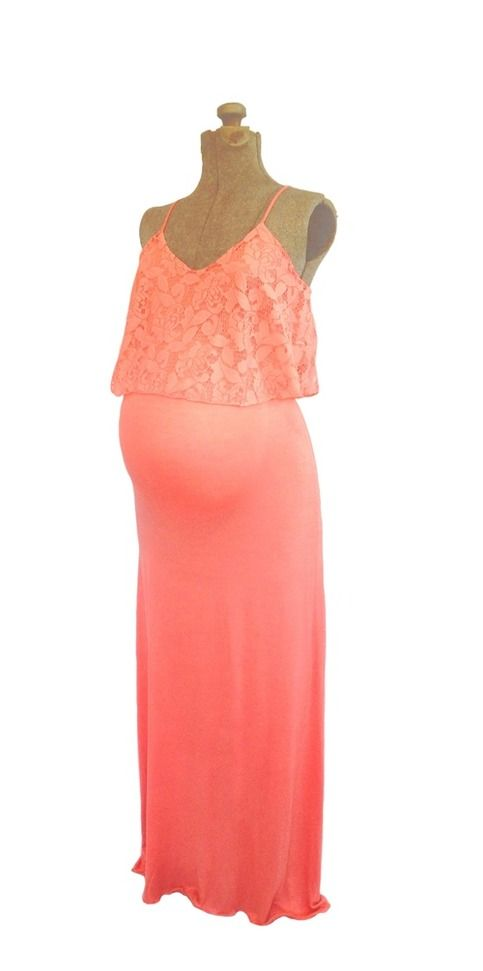 www.heritwinematernity.com Romantic coral lace maternity friendly maxi dress.  Perfect for baby showers and weddings.  $27.50
