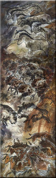 Original Art for sophisticated Interior: Lascaux - an ancient Cave Painting on Silk