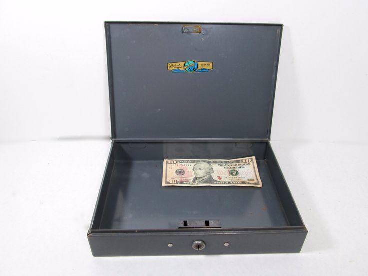 Gray Steelmaster Metal Cash Box with Key, Industrial Office Storage