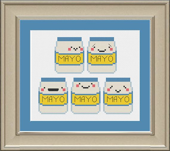 Cinco de Mayo funny mayonnaise crossstitch by nerdylittlestitcher, $3.00