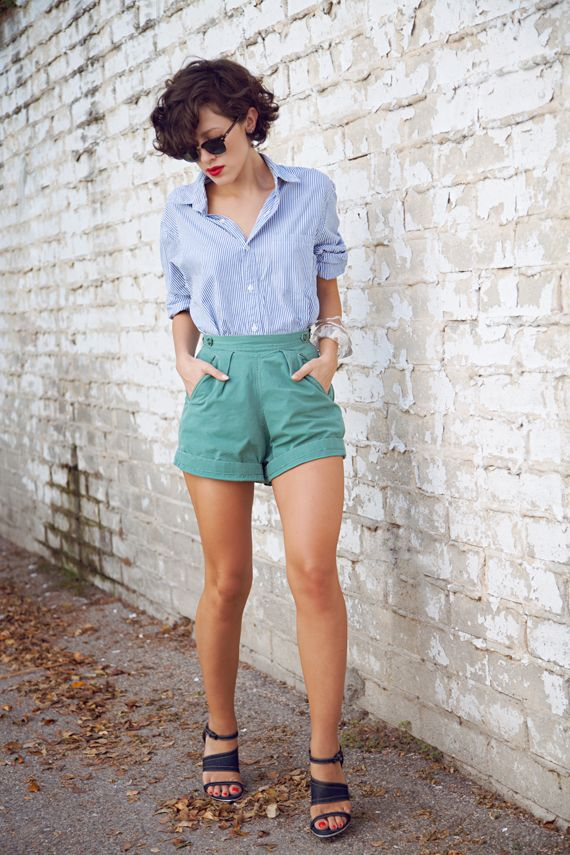 high waisted shorts + button up