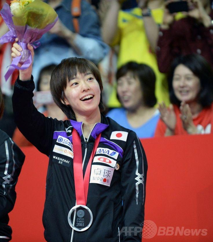 世界卓球団体選手権東京大会(2014 World Team Table Tennis Championships)最終日、女子決勝で銀メダルを獲得し、表彰式に臨む石川佳純(Kasumi Ishikawa、2014年5月5日撮影)。(c)AFP/Toshifumi KITAMURA ▼6May2014AFP 日本女子、世界卓球団体で銀メダル http://www.afpbb.com/articles/-/3014202 #Kasumi_Ishikawa #team_Japan #2014_World_Table_Tennis_Championships