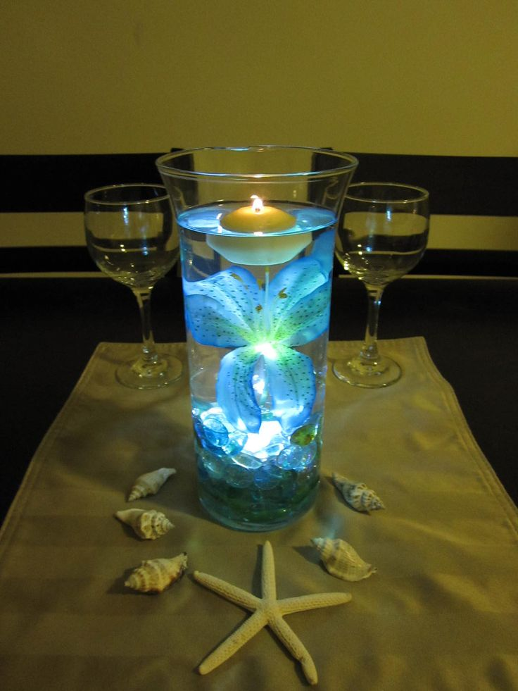 Ocean Blue Tiger Lily Wedding Centerpiece Kit Blue Marbles and LED Light @jina ₍˄ุ.͡˳̫.˄ุ₎ Alcobia  I love this idea but puple!! What do you think???